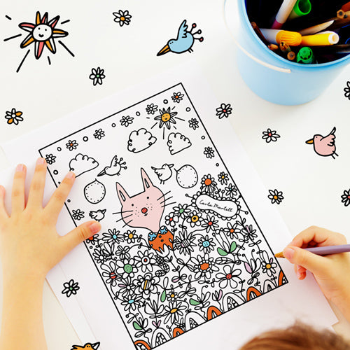 Flower Cats Colouring Page | Carla Martell