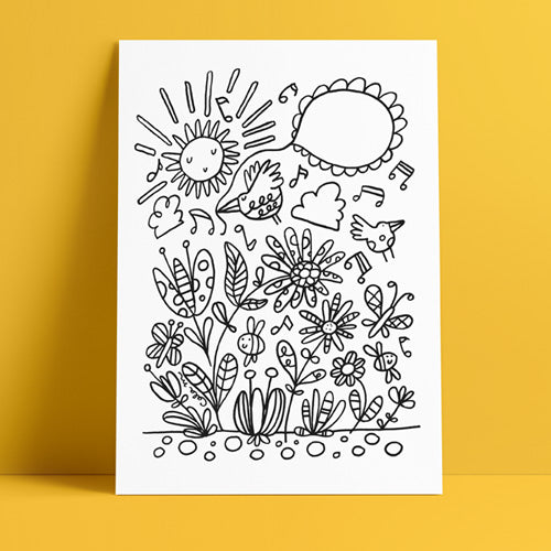 Carla Martell | Birds & Flowers Colouring Page