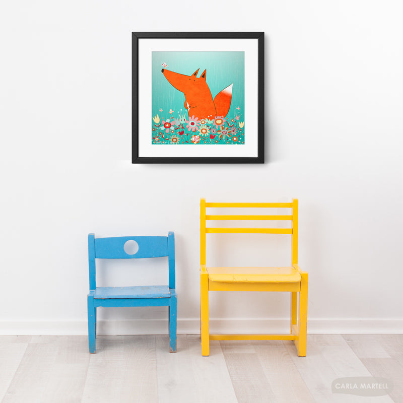 Fox in Flowers Art Print in kid's room | Carla Martell