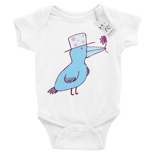 Carla Martell | Friendly Flower Bird Baby Bodysuit