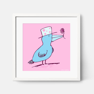 Carla Martell | Friendly Flower Bird Art Print for Kids