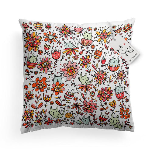 Carla Martell | Friendly Flower Cats Kids Pillow
