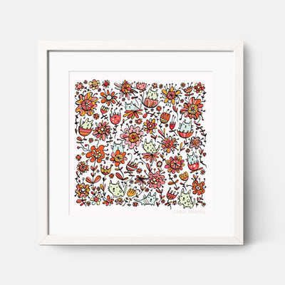 Carla Martell | Friendly Flower Cats Nursery Print