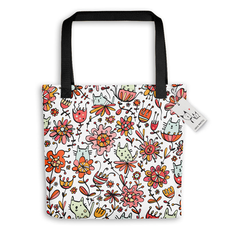 Carla Martell | Friendly Flower Cats Tote Bag