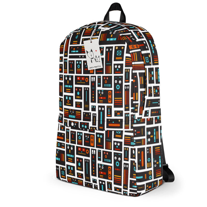 Carla Martell | Retro Robot Friends Kids Backpack | Side View