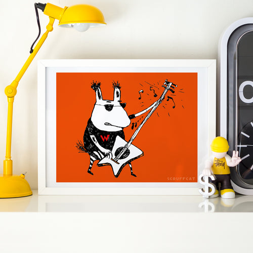 Wild Guitar Wolf Print for Kids | Scruffcat