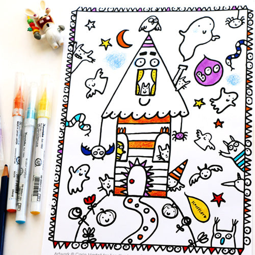Halloween House Colouring Page | Carla Martell