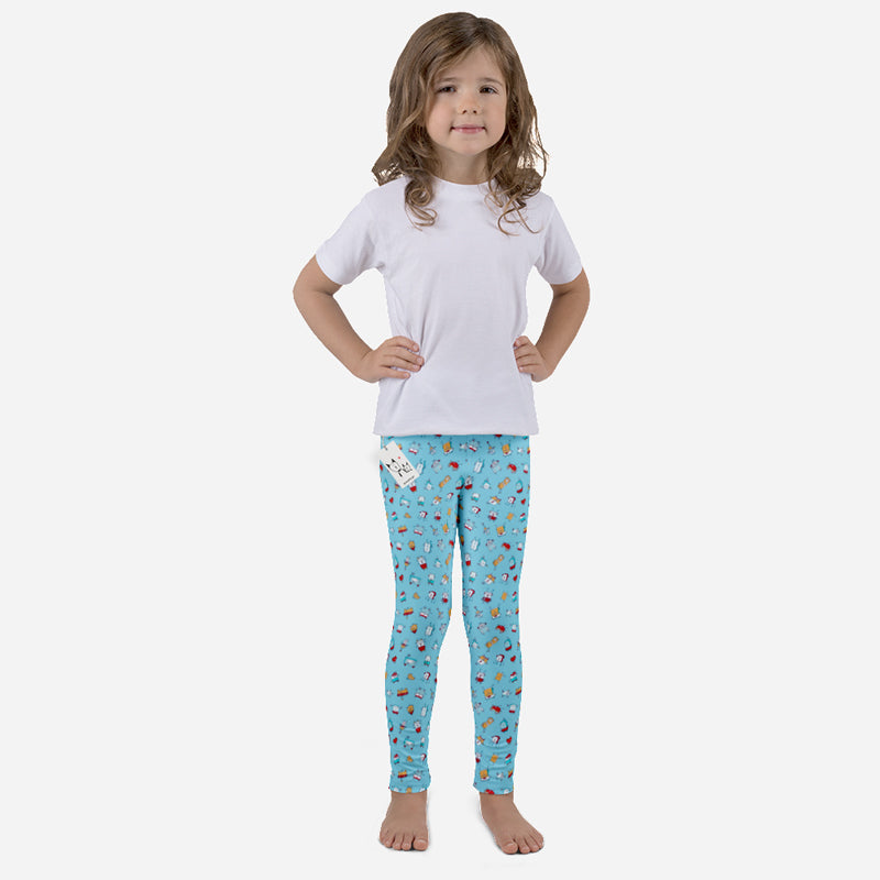 Scruffcat | Happy Little Robots Kids Leggings front view