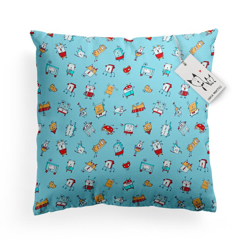 Carla Martell | Happy Little Robots Kids Pillow