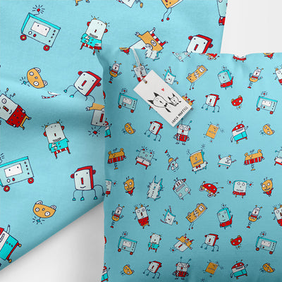Happy Little Robots Kids Pillow by Carla Martell