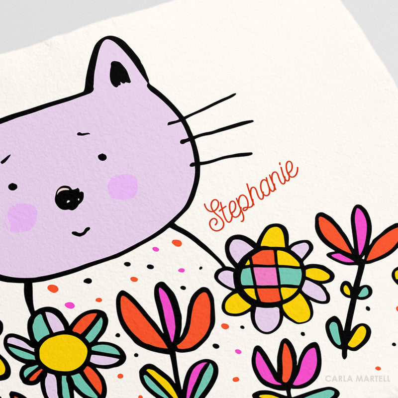 Lilac Kitty Personalised Kids Print closeup | Carla Martell