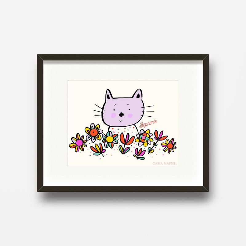 Carla Martell | Lilac Kitty Personalised Kids Print