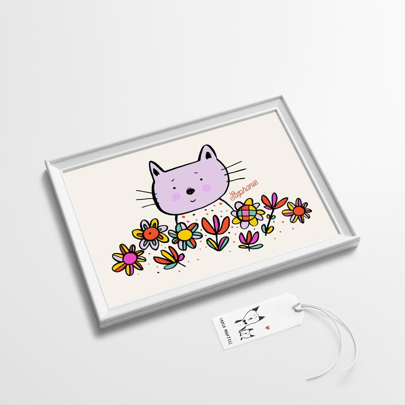 Lilac Kitty Personalised Kids Print | Carla Martell