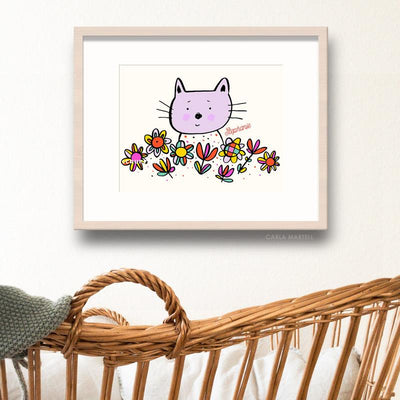 Lilac Kitty Personalised Nursery Print | Carla Martell