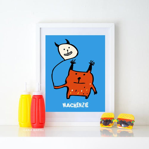 Little Orange Monster Personalised Kids Print by Carla Martell