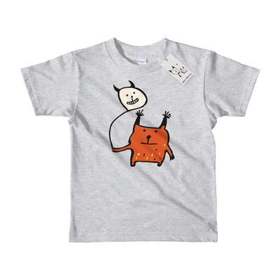 Carla Martell | Little Orange Monster Kids Tee | Heather