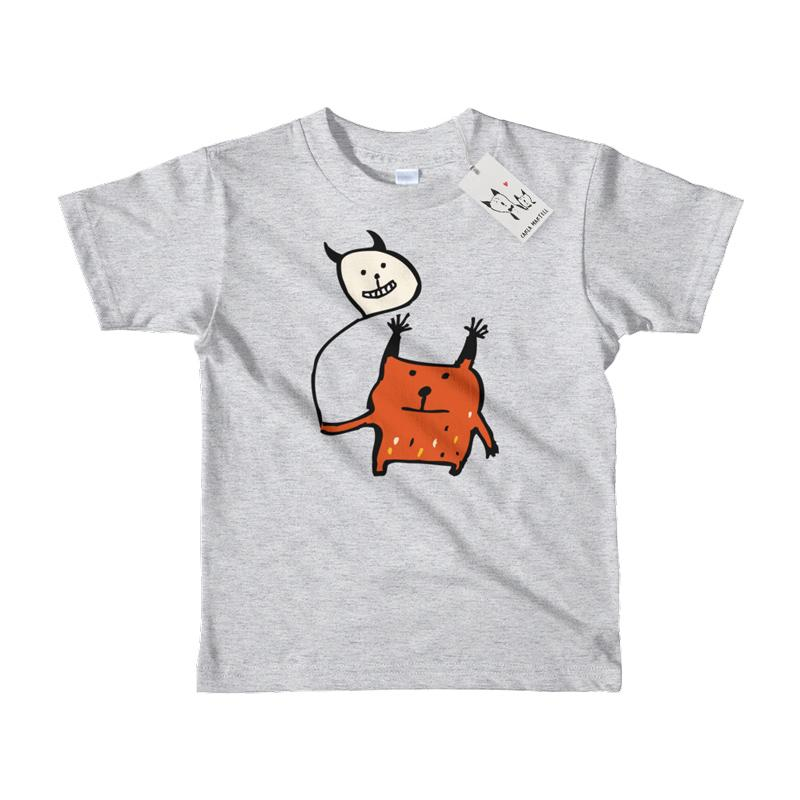 Carla Martell | Little Orange Monster Kids Tee | White