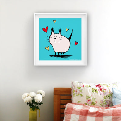 Carla Martell | Little Pink Love Cat Art Print