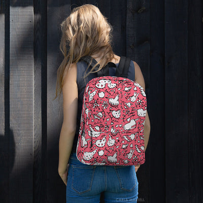La La Love Birds Pink Backpack by Carla Martell