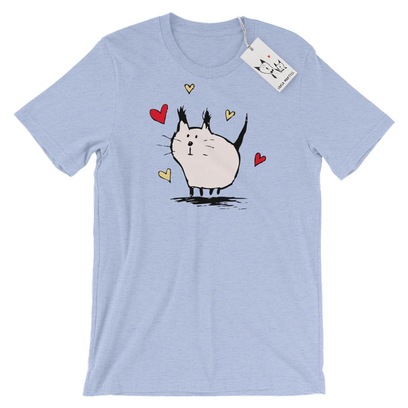 Carla Martell | Little Pink Love Cat T Shirt | Heather Blue