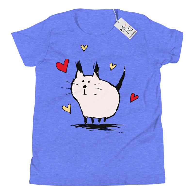 Carla Martell | Little Pink Love Cat Youth Tee | Heather Columbian Blue