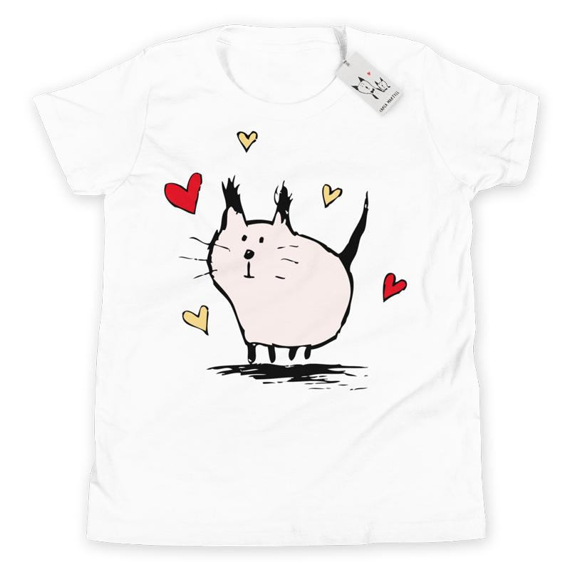Carla Martell | Little Pink Love Cat Youth Tee | White