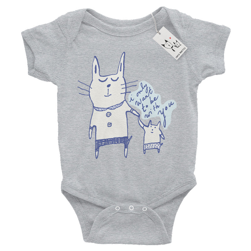 Carla Martell | Love Cats Baby Bodysuit | Heather