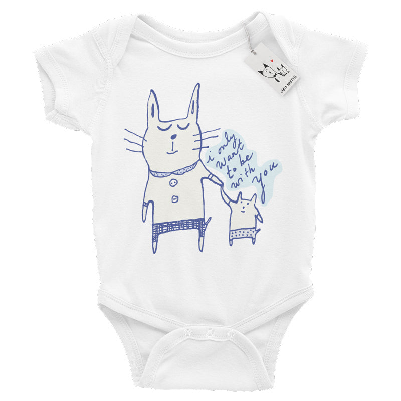 Carla Martell | Love Cats Baby Bodysuit | White