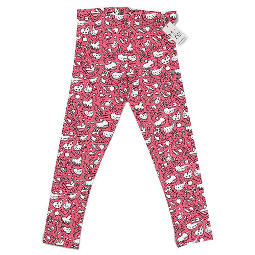 Carla Martell | La La Love Birds Kids Leggings | Pink