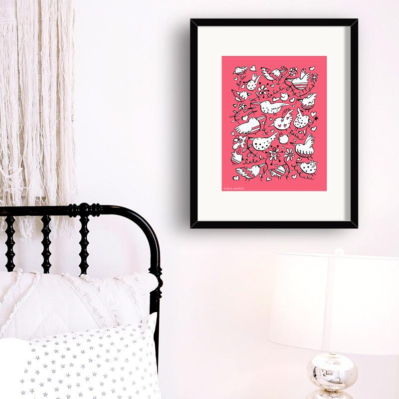 La La Love Birds Art Print in Pink | Carla Martell