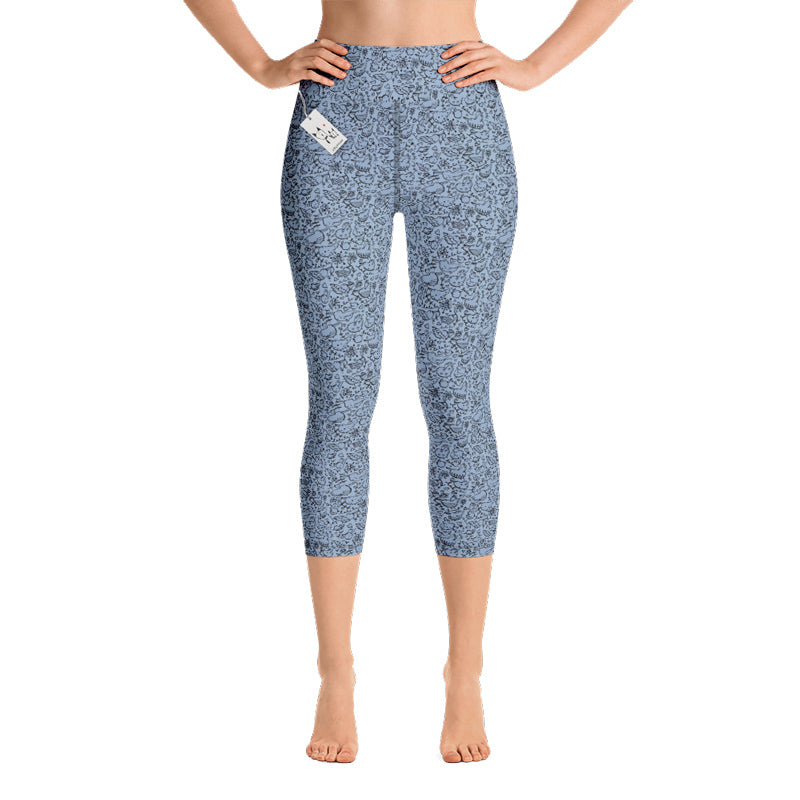 Scruffcat | La La Love Birds Yoga Capri Leggings | Lilac