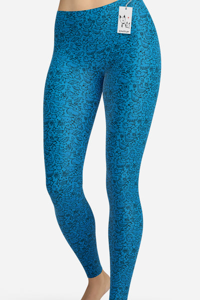 Scruffcat | La La Love Birds Yoga Leggings | Blue