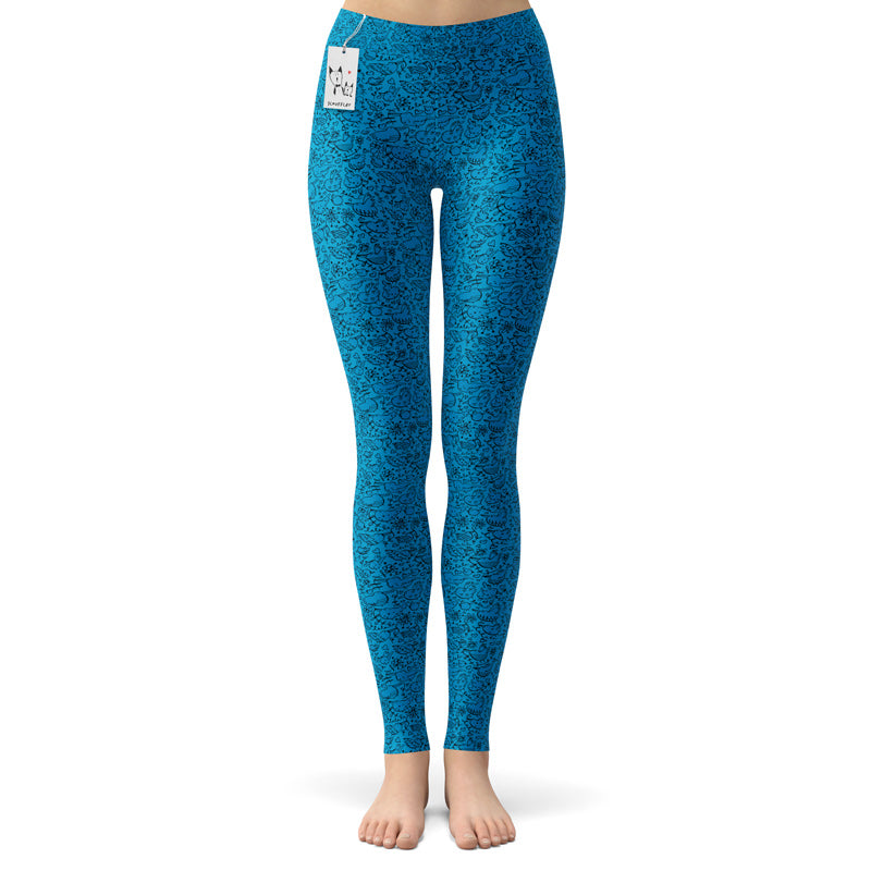 Scruffcat | La La Love Birds Yoga Leggings | Blue front view