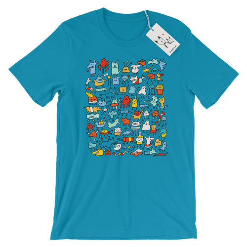Scruffcat | Mad Monster Friends T Shirt | Aqua