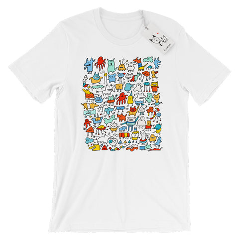 Scruffcat | Mad Monster Friends T Shirt | White