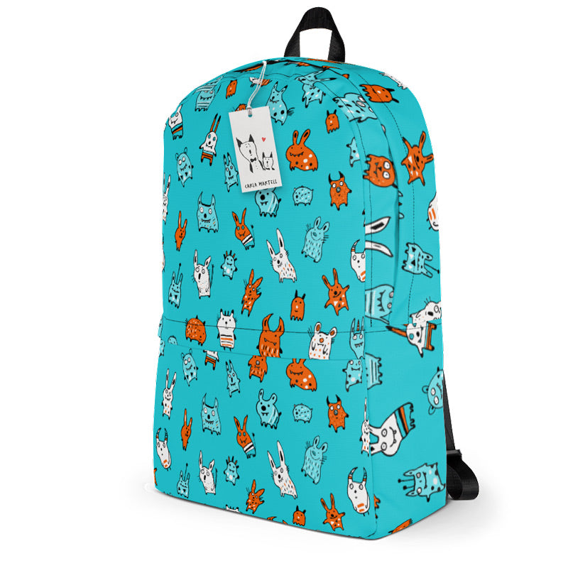 Carla Martell | Mini Monsters Kids Backpack side view