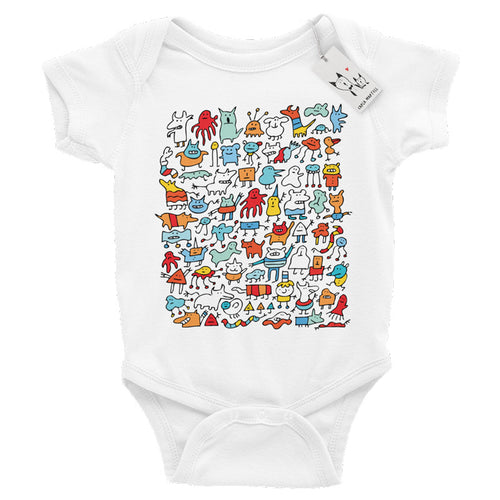 Carla Martell | Mad Monster Friends Baby One Piece | White