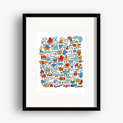 Carla Martell | Mad Monster Friends Children's Art Print