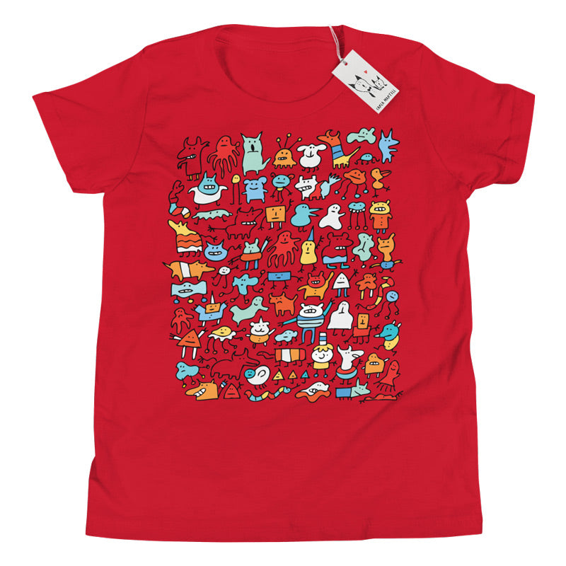 Carla Martell | Mad Monster Friends Youth T Shirt | Red