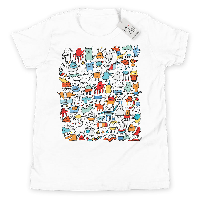 Carla Martell | Mad Monster Friends Youth T Shirt | White
