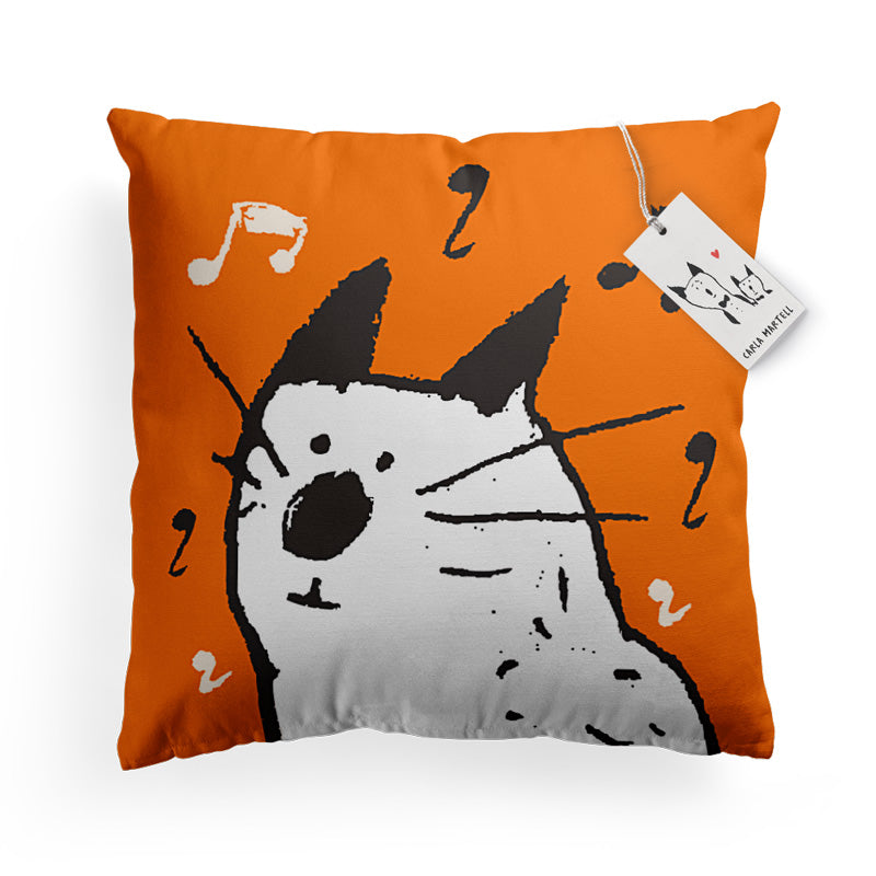 Carla Martell | Music Cat Pillow | Orange