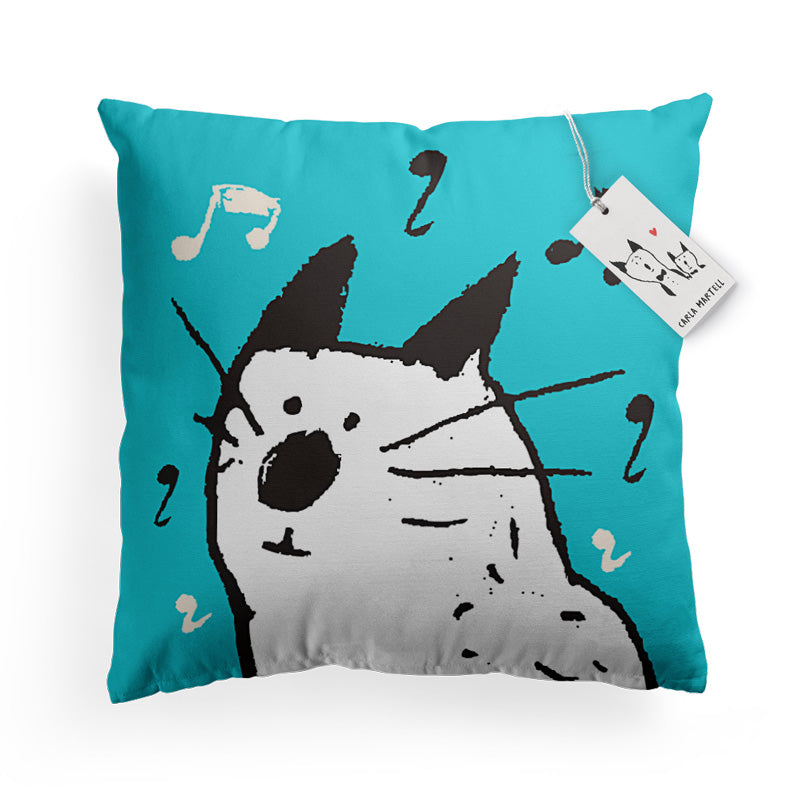 Carla Martell | Music Cat Pillow | Turquoise