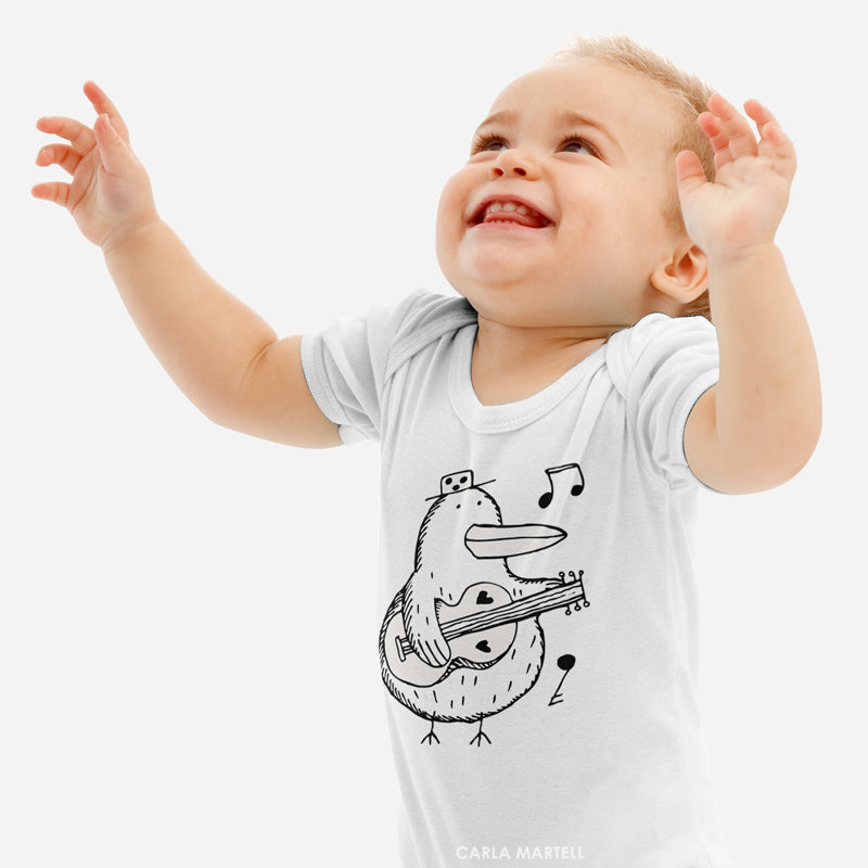 Mr Music Kiwi Baby Bodysuit on infant | Carla Martell