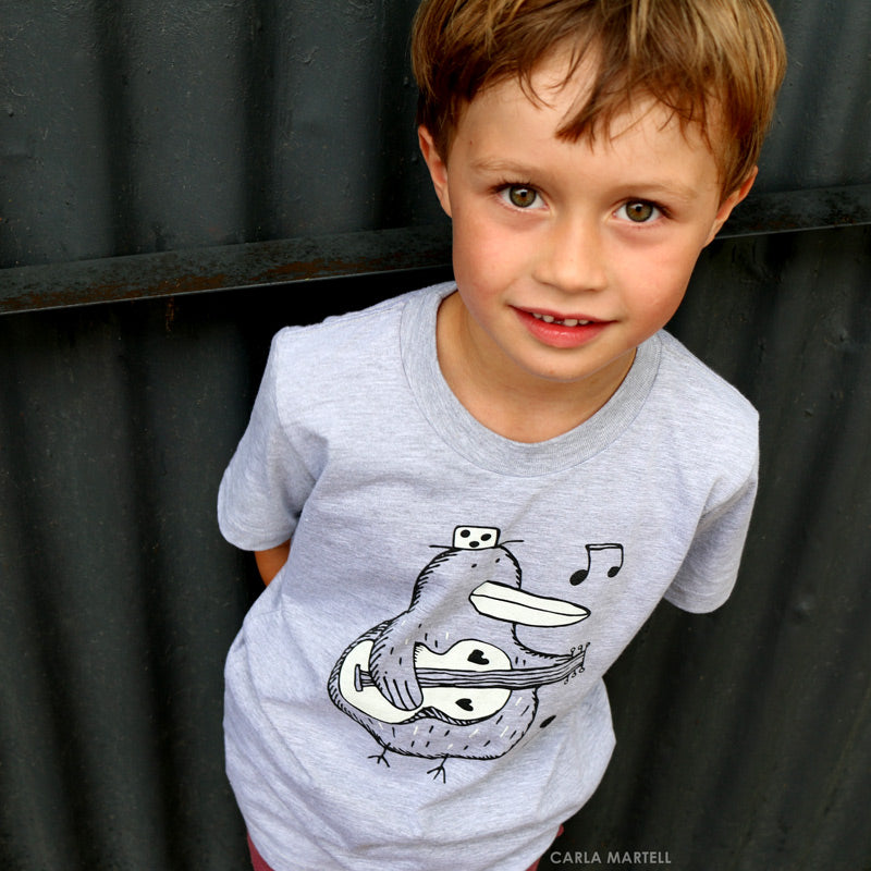 Music Kiwi Kids T Shirt by Carla Martell