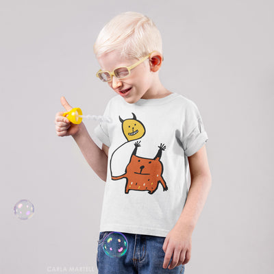 Little Orange Monster Kids T Shirt | Carla Martell