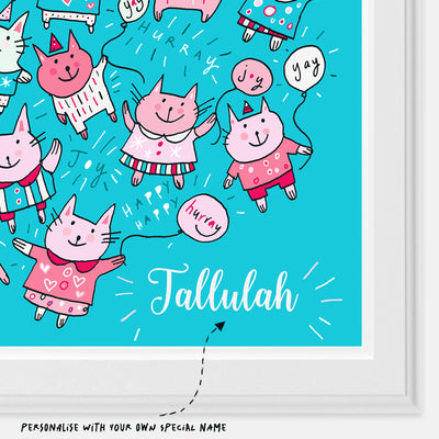 Pink Party Cats Personalised Print closeup of name | Carla Martell