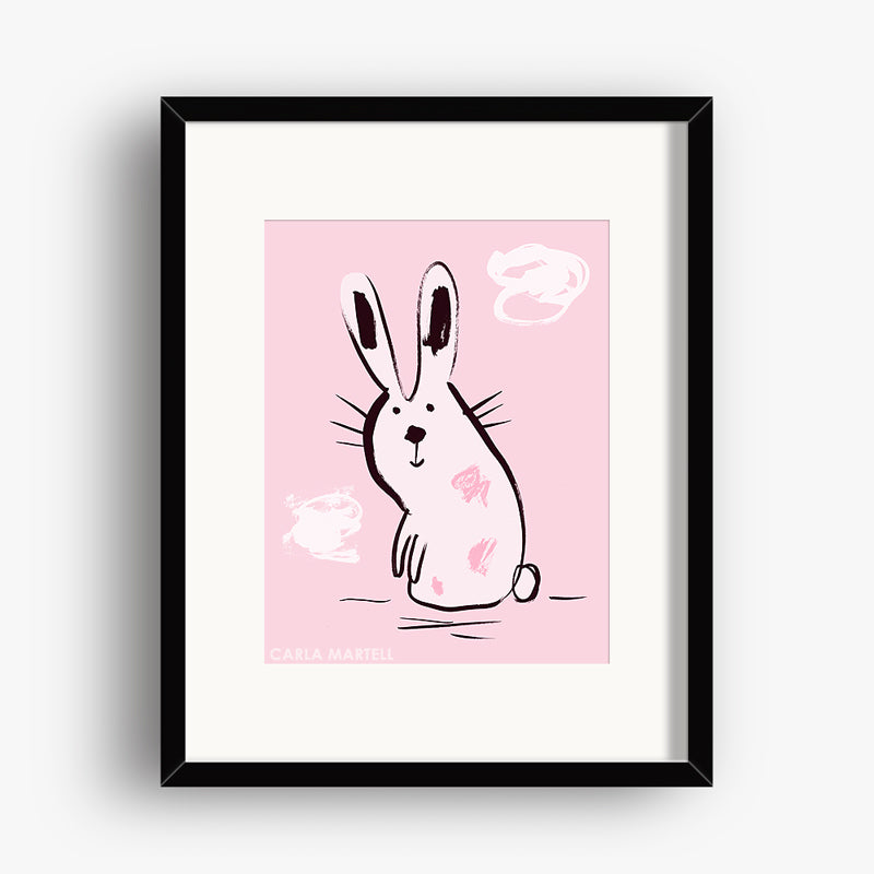 Carla Martell | Pink Bunny Nursery Print for Kids