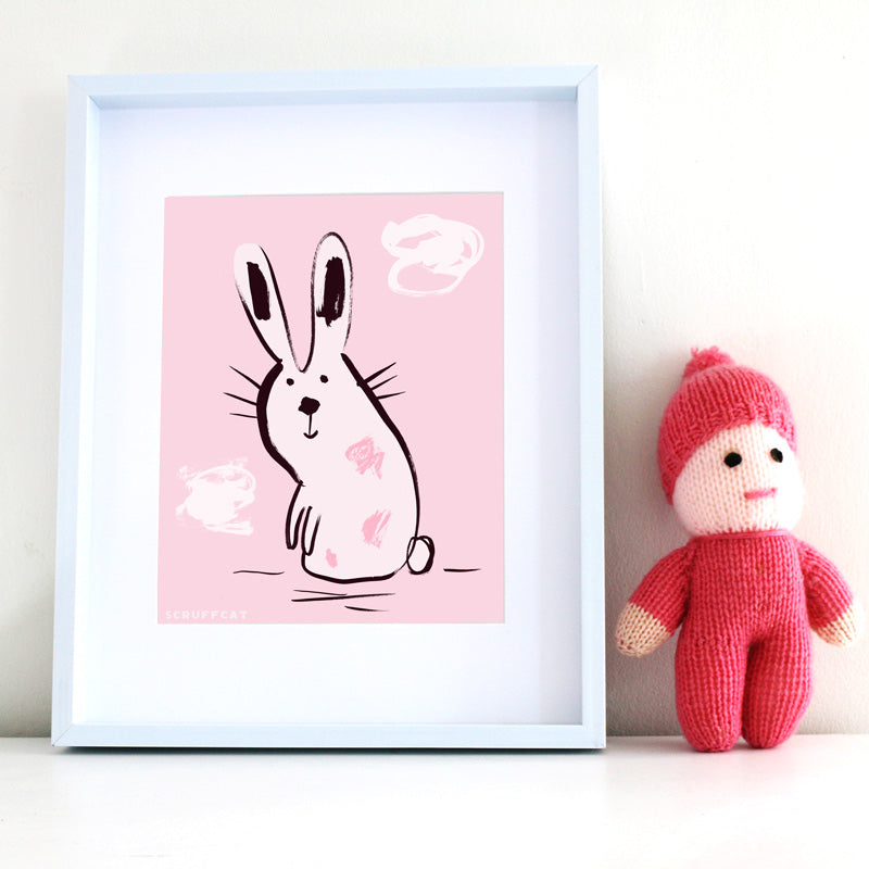 Scruffcat | Pink Bunny Nursery Print for Kids