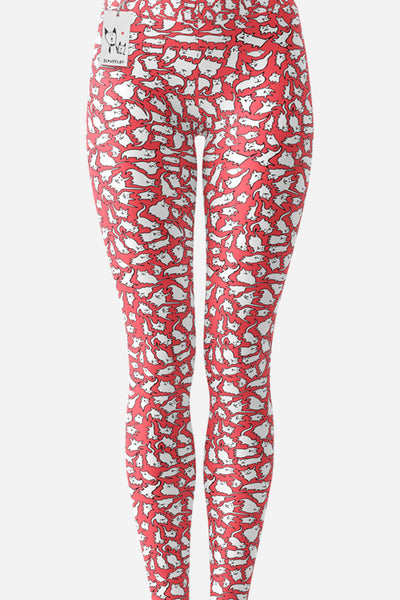 Scruffcat | Pink Crazy Cats Yoga Leggings front view