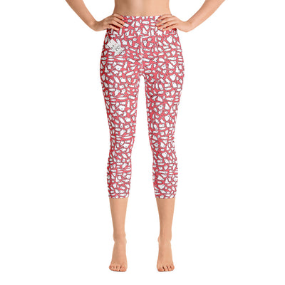 Scruffcat | Pink Crazy Cats Yoga Capri Leggings